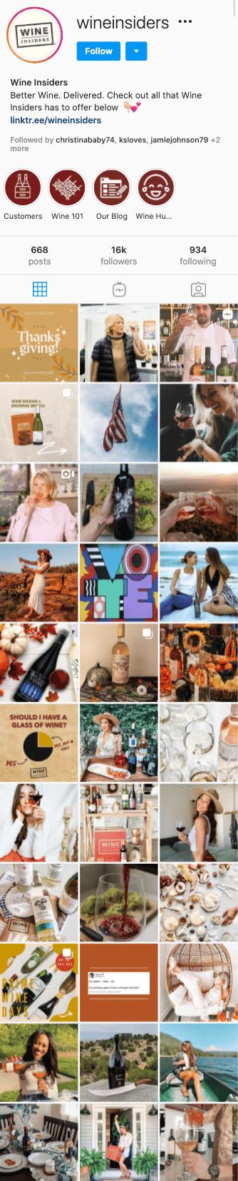 wine insiders instagram feed