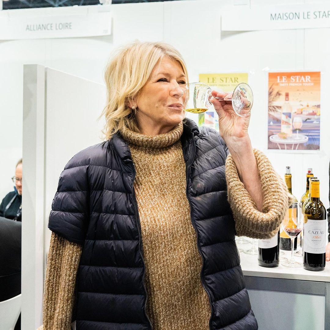 martha stewart drinking wine